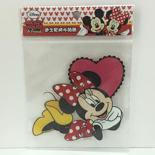 【真愛日本】13121100010 防水貼紙L-愛心米妮 迪士尼 米老鼠米奇 米妮  行李箱裝飾貼紙