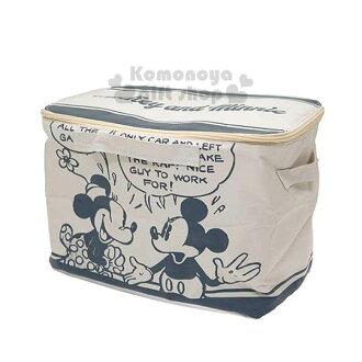 〔小禮堂〕迪士尼 米奇米妮 拉鍊掀蓋式收納箱《白.說話》可摺疊