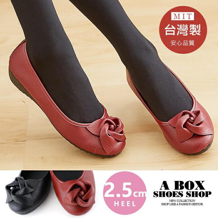 【AN358】2.5CM低粗跟圓頭包鞋 娃娃鞋 低跟鞋 時尚玫瑰皮革 MIT台灣製 2色
