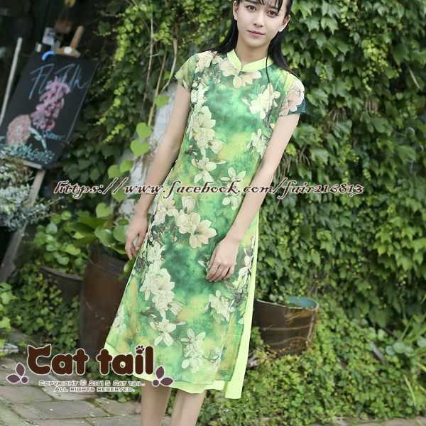 《貓尾巴》CH-01878中國風文藝印花立領短袖連身裙(森林系日系棉麻文青清新)