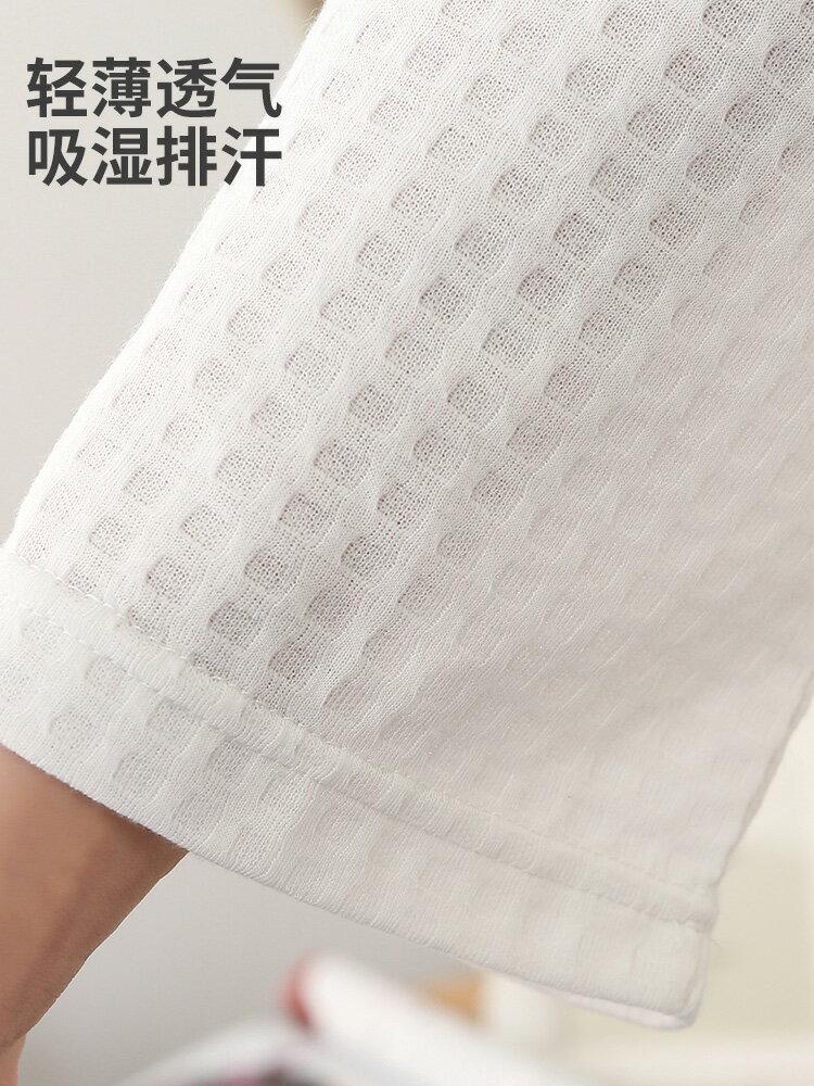 浴袍男女長款夏季薄款白色睡袍吸水速幹毛巾料情侶浴衣