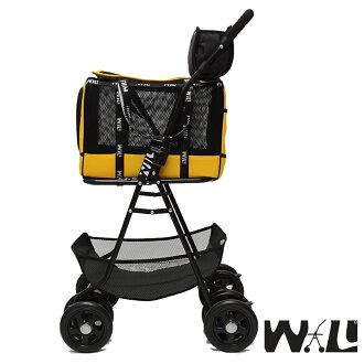 【WILL設計 + 寵物用品】雙層萬搭可拆式推車+WB02極透氣抗夏黑網#堅尼黃