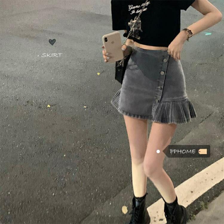 日系古著感少女俏皮百褶裙擺斜扣牛仔短裙女