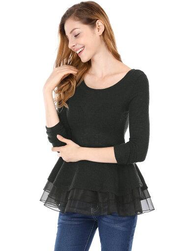 Unique Bargains Women's Long Sleeve Ruffled Tiered Hem Peplum Top Black (Size S / 4) 623a83a08c03537c82c7fb51a542b984