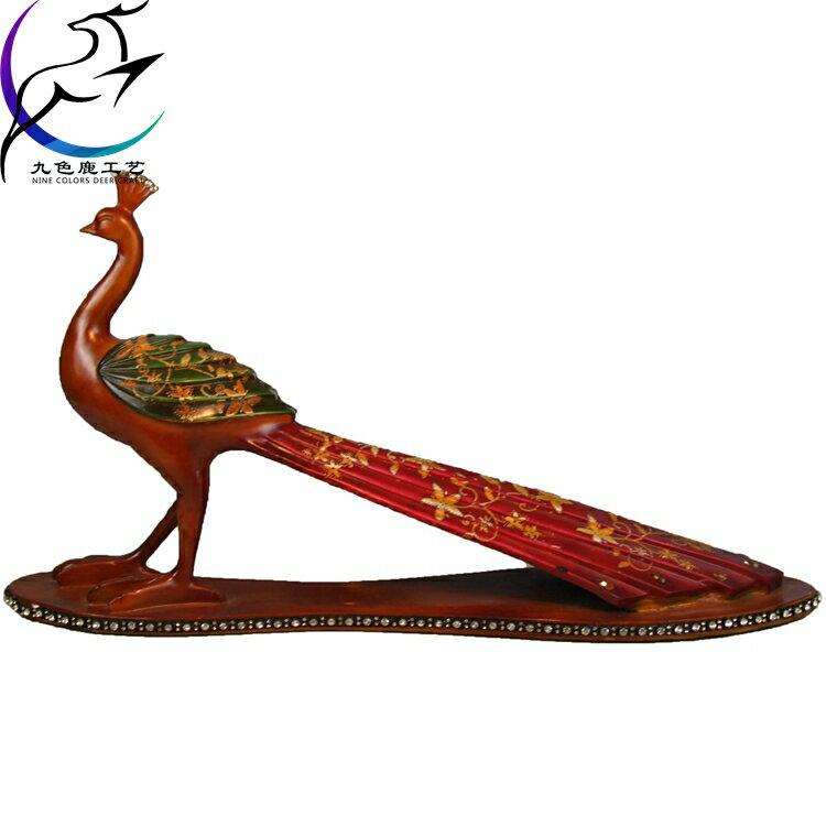 斯里蘭卡藍孔雀擺件中式裝修裝飾品東南亞風格禮品客廳書房擺件1入