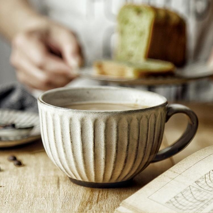 買一送一 粗陶水杯馬克杯杯子拉花杯拿鐵大口早餐杯 甜品杯咖啡杯