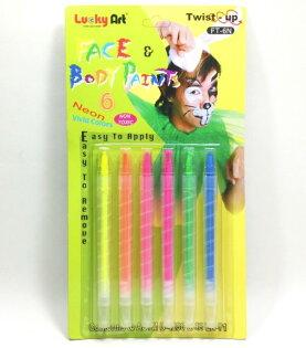 蜡藝FT-6N6色旋轉式人體彩繪筆(螢光色)