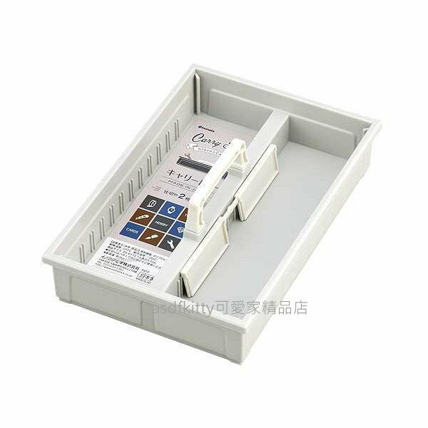 asdfkitty可愛家☆日本INOMATA灰色可手提2格收納盒/置物盒/整理盒-可疊放-日本製