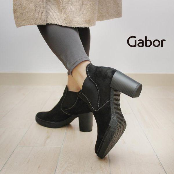 Gabor 縫紋交露踝時尚跟靴 黑 粗跟│中跟│寬楦│皮革 3