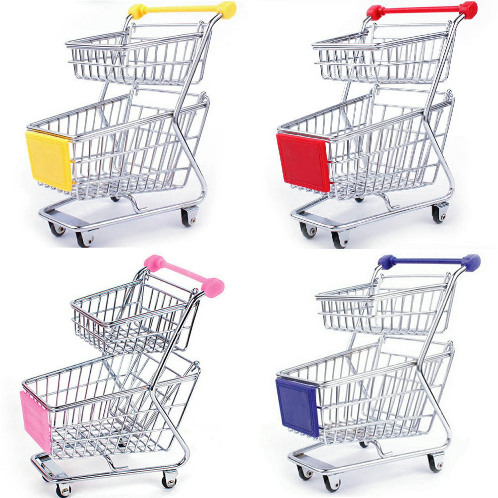 【酷創意】收納 超市 桌面 雙層 小推車購物車造型 創意雙層雜物文具收納雙層迷你購物車