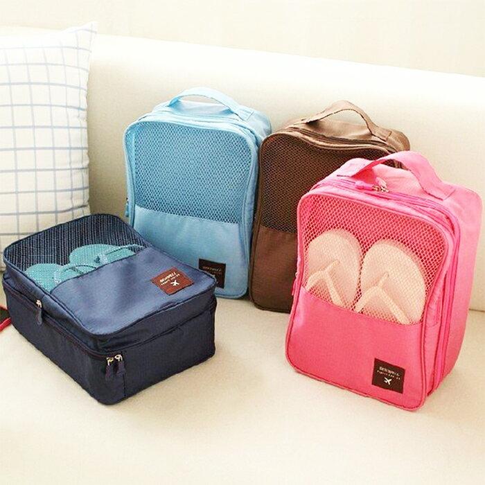 【酷創意】韓系出國旅行.外出攜帶手提防水鞋袋收納袋 飛機收納鞋盒(e99)