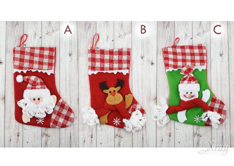 X射線【X421402】13吋格子針織布聖誕襪(3款-老公公 麋鹿 雪人),聖誕節  掛飾 裝飾 吊飾 聖誕襪 袋 糖果袋
