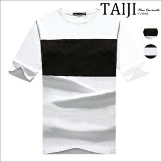 韓系寬版短T‧簡約色塊拼接側邊口袋設計圓領棉質休閒短T‧二色【NP1100】-TAIJI-運動/簡約/經典