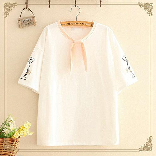 圓領刺繡兔子綁帶蝴蝶結T恤(3色F碼)【OREAD】 1