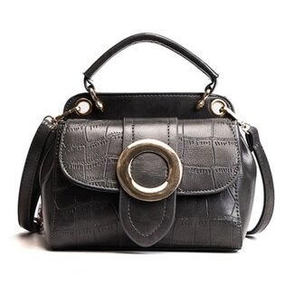 手提包肩背小方包-翻蓋石頭紋圓環簡約女包包3色73fc420【獨家進口】【米蘭精品】
