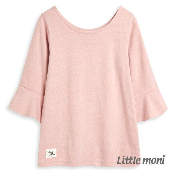 Littlemoni經典百搭荷葉袖上衣-粉紅