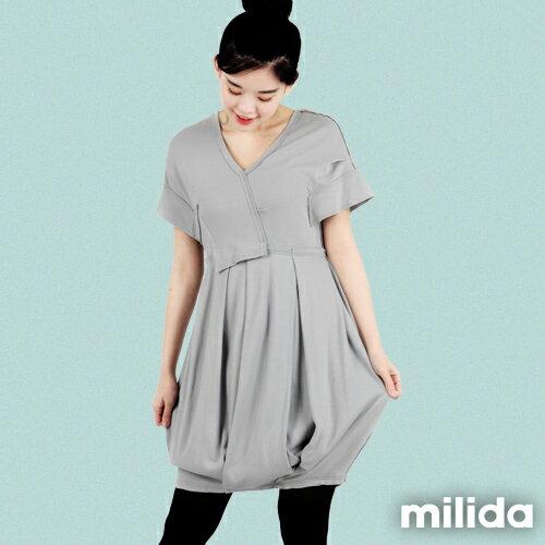 【Milida,全店七折免運】-早春商品-V領款-花苞百褶洋裝 3