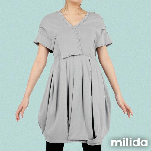 【Milida,全店七折免運】-早春商品-V領款-花苞百褶洋裝 4