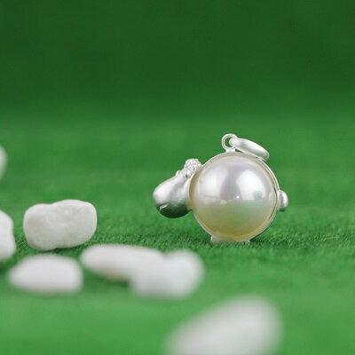 ~925純銀項鍊 珍珠吊墜~可愛小綿羊 清新生日情人節 女飾品73gm62~ ~~米蘭 ~