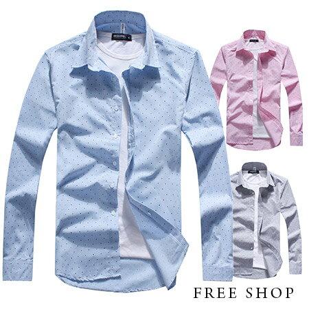 Free Shop~QHS1213~日韓風格 百搭款 三角領滿版雙色小圓點純色長袖襯衫‧三
