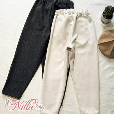 Nillie‧素色雙口袋修身哈倫長褲12 20^(白 灰^)~N89152~