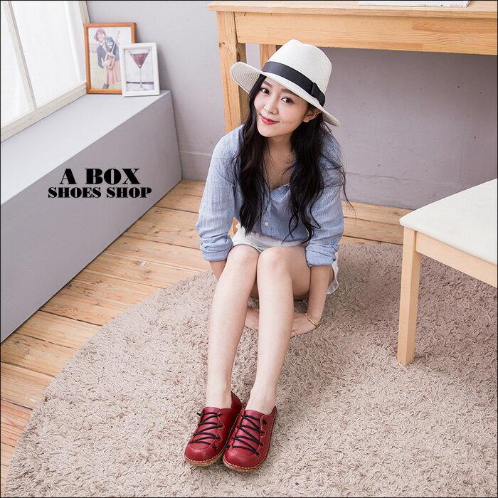 格子舖*【AN821】MIT台灣製 嚴選皮革合成橡膠底 免綁鞋帶 休閒鞋 懶人鞋 4色 1