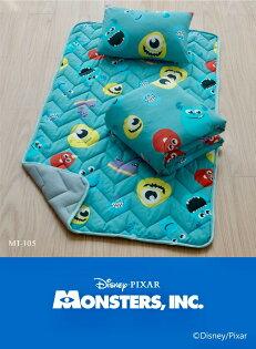 【淘氣寶寶】迪士尼三件單人睡墊組兒童棉被兒童睡袋幼兒園午休睡袋午睡袋-大眼怪