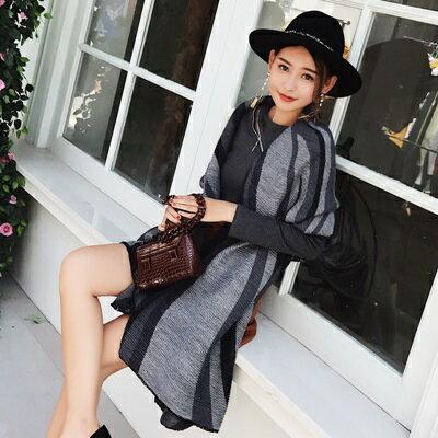 【米蘭精品】圍巾仿羊絨披肩-拼色條紋時尚保暖女配件3色73ub42