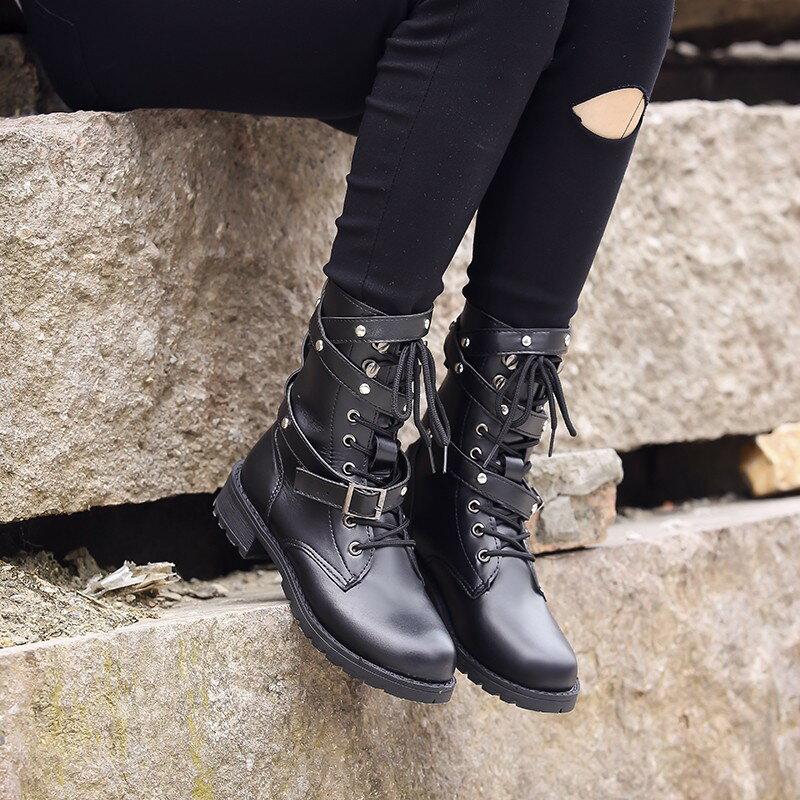 2016加大尺寸秋冬歐美新款韓國新款女鞋純黑色馬丁靴百搭卯釘綁帶中筒新品