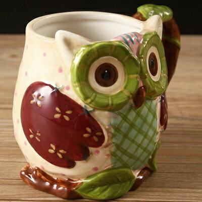 ☆咖啡杯 彩繪馬克杯-3D立體可愛貓頭鷹陶瓷水杯72ax4【獨家進口】【米蘭精品】
