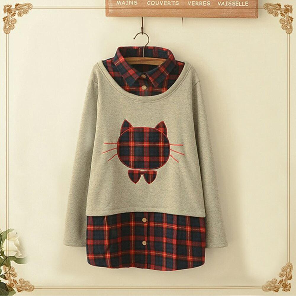 森系格子貓頭貼布繡假兩件加絨上衣 (淺灰色,M~4XL)【OREAD】 1