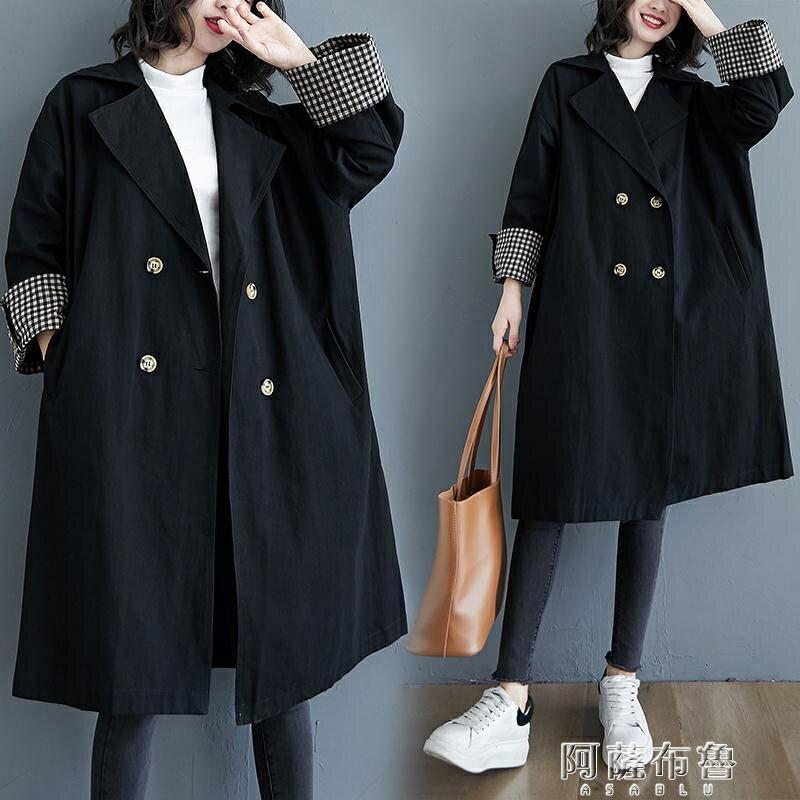 風衣 小菲家~秋冬新款寬鬆時尚氣質英倫風外套女西裝領中長款風衣