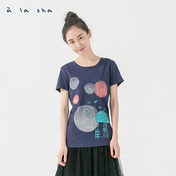 àlashaQummi動物蘑菇水彩圓短袖上衣
