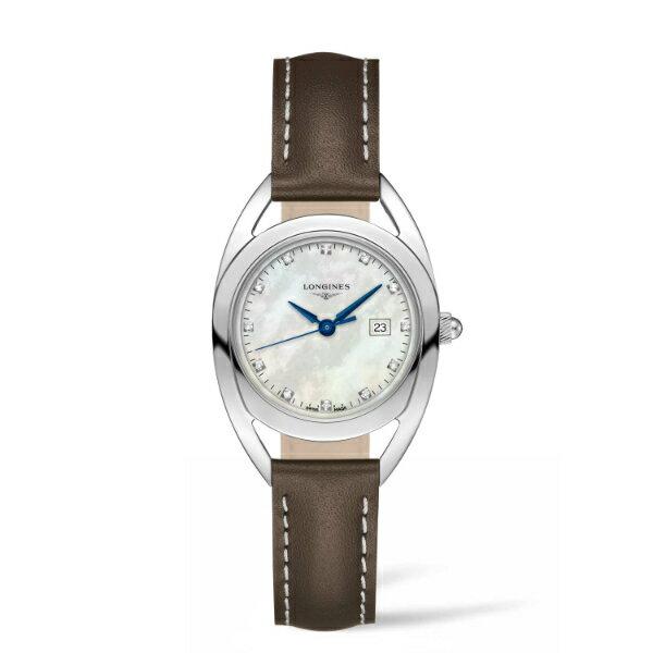 LONGINES L61374872騎士系列精美真鑽腕錶/珍珠母貝面30mm
