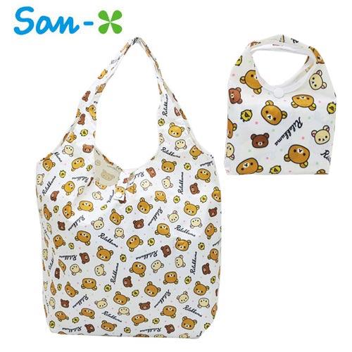 白色款【日本正版】拉拉熊 摺疊 購物袋 環保袋 手提袋 防潑水 懶懶熊 Rilakkuma San-X - 451349