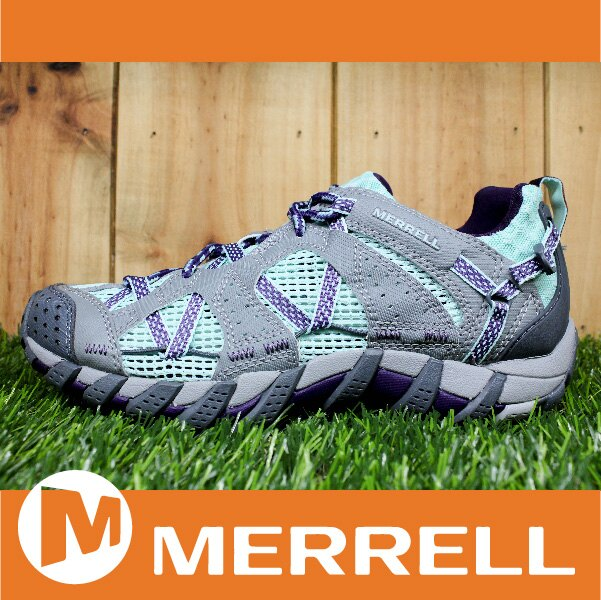 【3月 MERRELL限時7折】MERRELL WATERPRO MAIPO 水陸兩用鞋 女款 低筒健行鞋 快乾透氣 淡綠/灰 萬特戶外運動