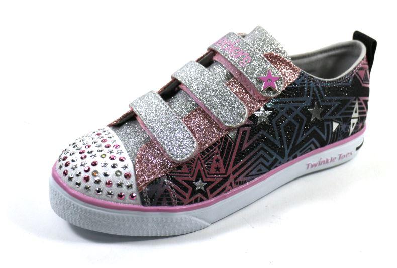 [陽光樂活] SKECHERS (童) 女童系列 燈鞋 Twinkle Breeze - 10728LBKSP 黑銀/淺粉