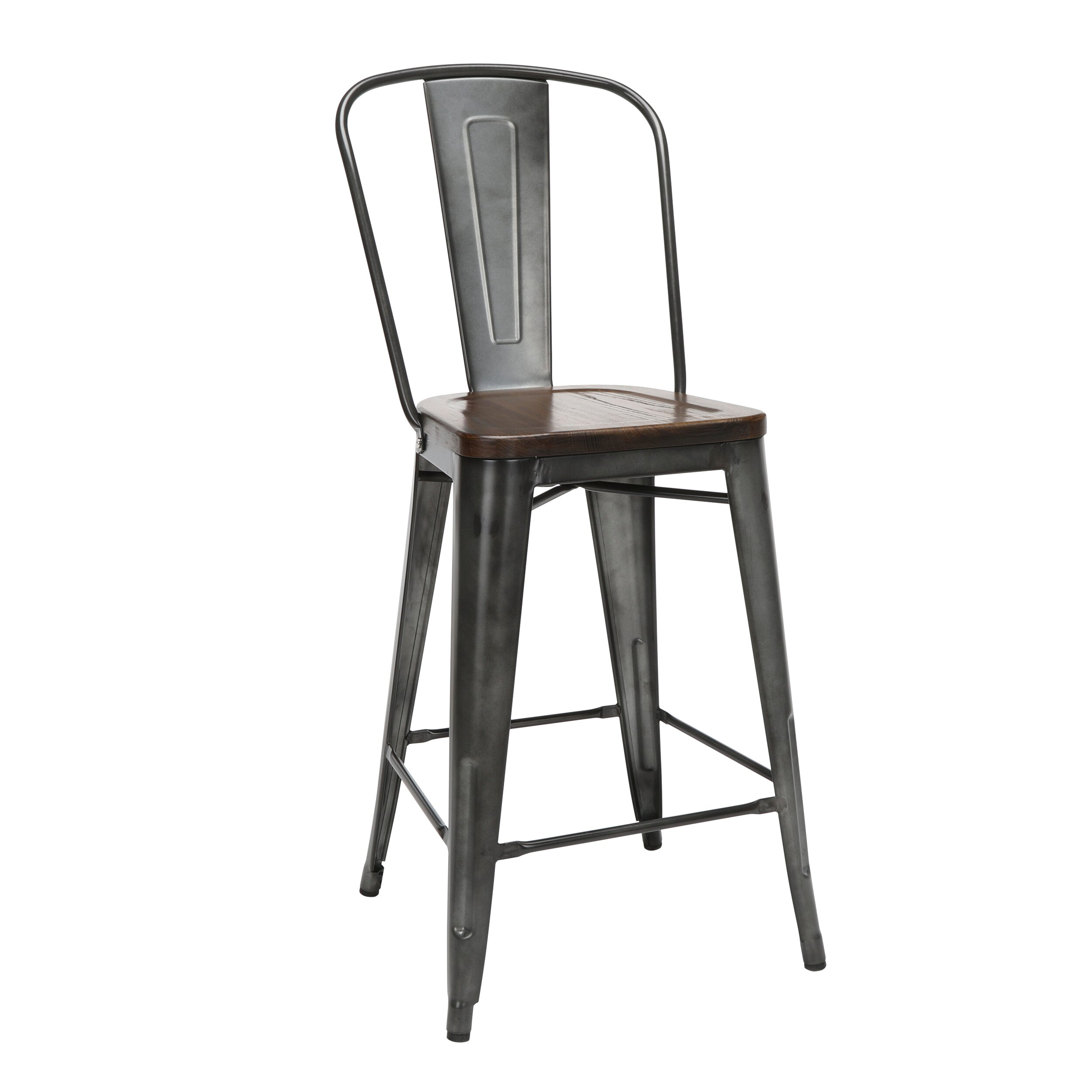 Marvelous Ofm 161 Collection Industrial Modern 4 Pack 26 High Back Metal Stools With Solid Ash Wood Seats Galvanized Steel Bar Stools In Gunmetal Walnut Machost Co Dining Chair Design Ideas Machostcouk