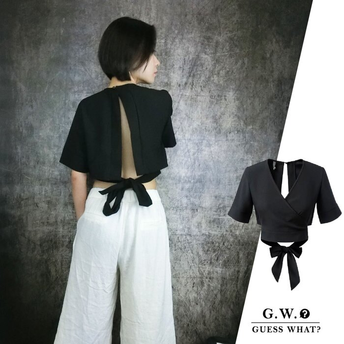 GW【V領設計款上衣】黑色 歐美短袖 性感露背 簍空綁帶 設計個性前衛 S-L 號 GUESSWHAT