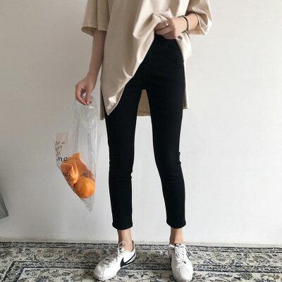 韓系日系女裝高腰彈力小腳褲緊身一粒扣休閒褲子樂天時尚館。預購。[全店免運]