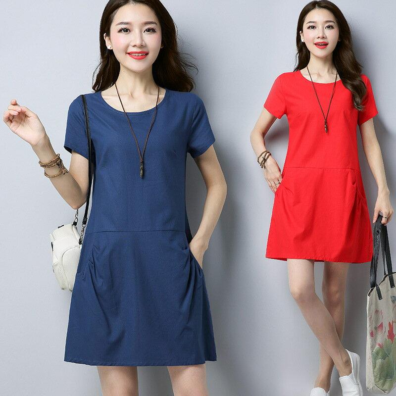 復古棉麻口袋連身裙 (3色,M-2XL)