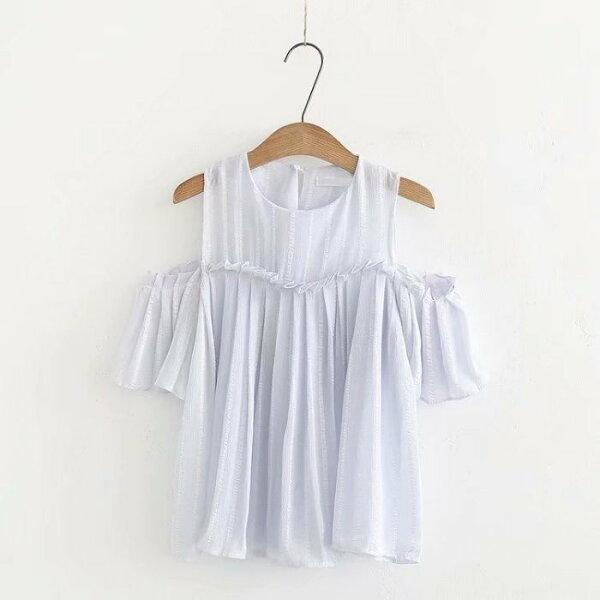 *漂亮小媽咪*森林系透肌甜美雪紡條紋露肩上衣傘狀襯衫裸肩娃娃衫孕婦裝C2429