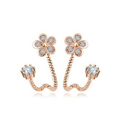 純銀耳環鍍白金鑲鑽耳飾~精緻 小巧花朵生日七夕情人節 女飾品2色73cr375~ ~~米蘭