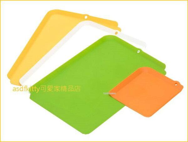 asdfkitty可愛家☆日本INOMATA曲邊薄型分色砧板-4入-切菜板切水果板麵包板-日本製