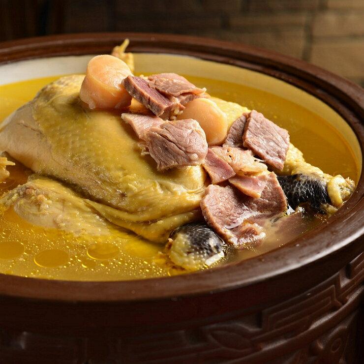 干貝雞湯 -選用嚴選老母雞、日本干貝、金華火腿燉煮 甘甜不油膩 (雞約3斤半,湯約2000CC)