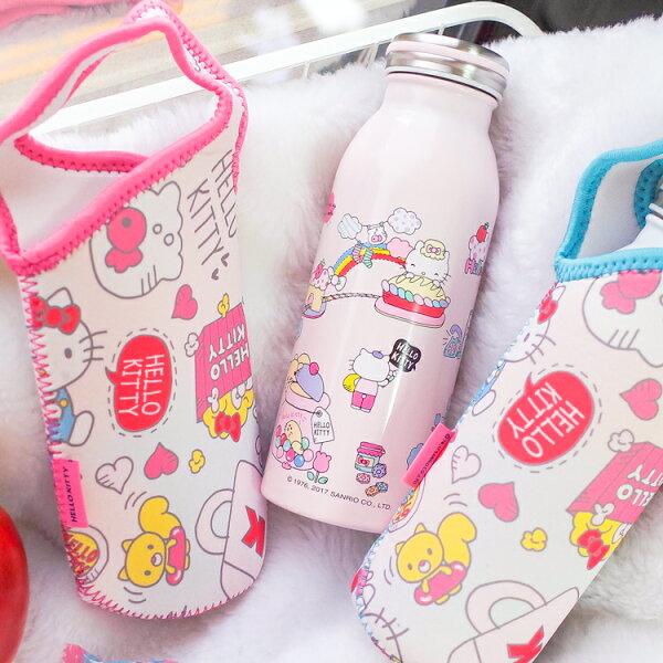 PGS7三麗鷗系列商品-Kitty凱蒂貓不銹鋼牛奶保溫瓶附防水布套【SEP71670】