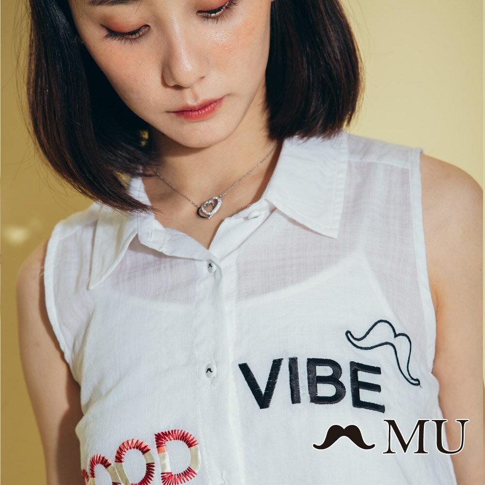 【MU】good vibe刺繡氣質無袖上衣 8323165 3