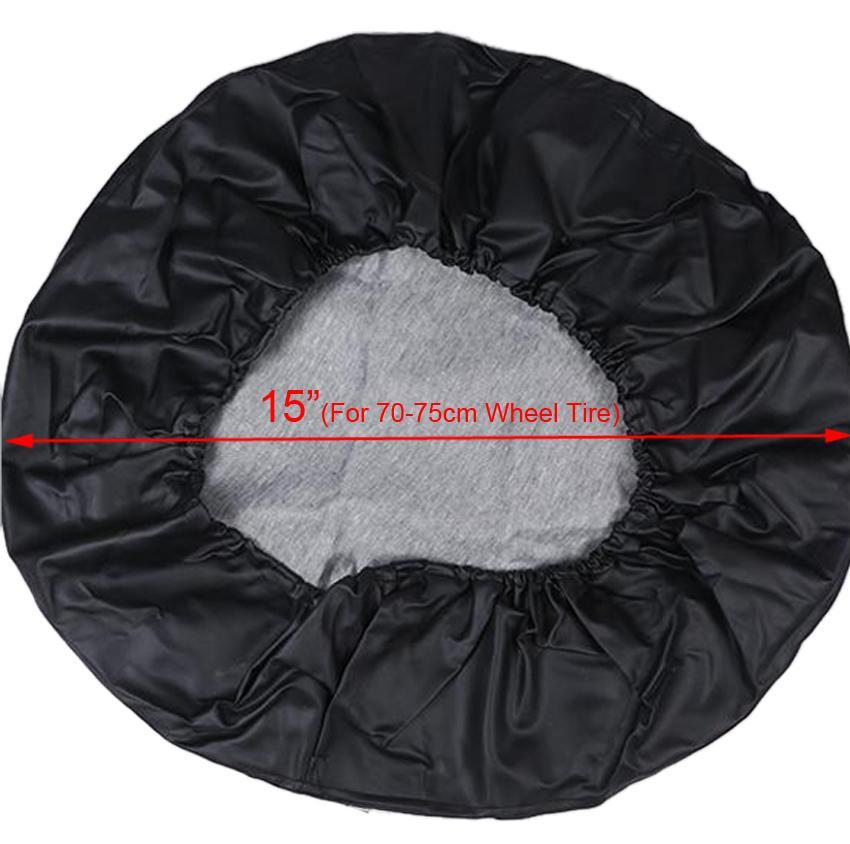 Leatherette 15inch Spare Tire Cover Wheel Covers for Car Black 1