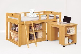 【尚品傢俱】CM-213-7 貝莎3.8尺檜木色多功能組合床組(全組)