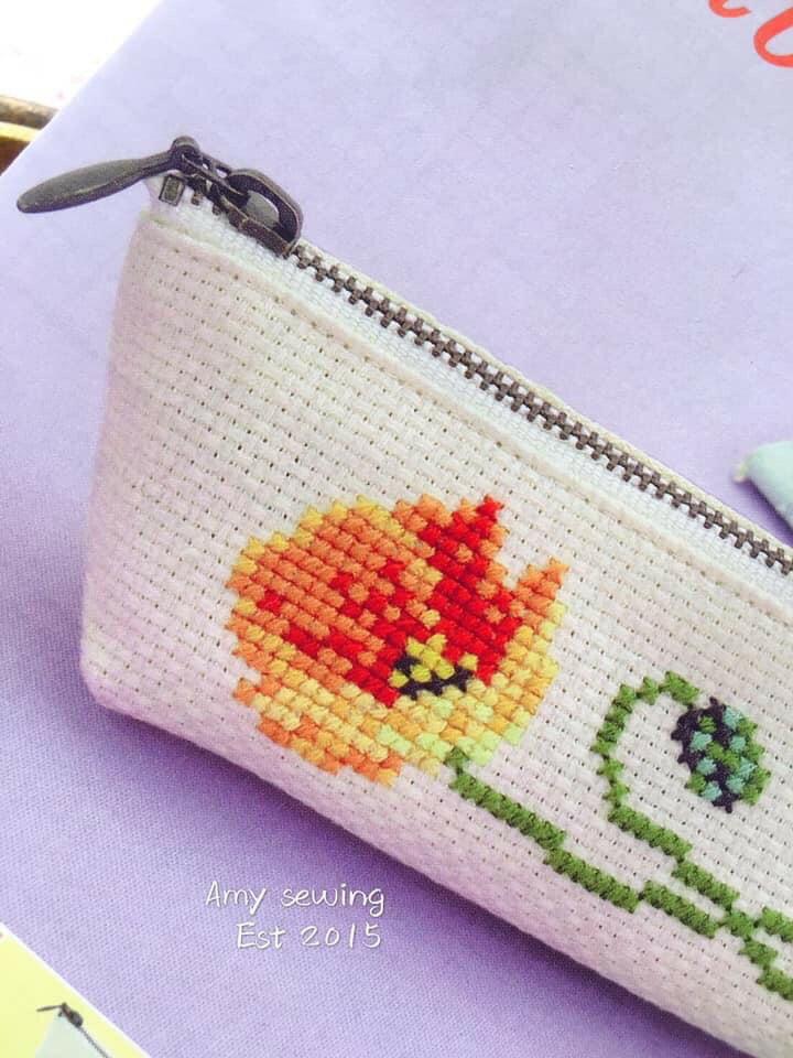 居家手作日本製花朵Poppy十字繡筆袋材料包